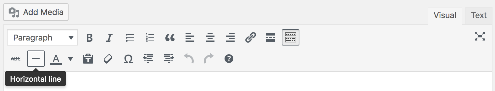 Horizontal Line button