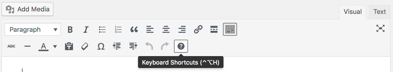 Keyboard Shortcuts button